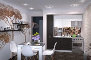 Кухня «Валерия-М»: белый глянец/венге (корпус белый)