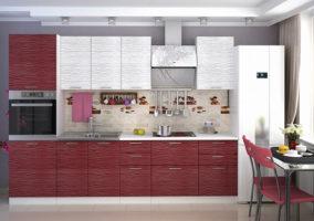 Кухня «Валерия-М»: Страйп белый/Страйп красный (корпус белый)